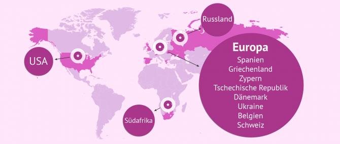 Imagen: Karte mit den gefragtesten Ländern für eine IVF